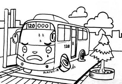 Mewarnai Gambar Bus Tayo Yang Malang