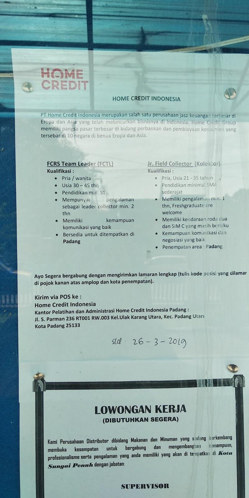 Lowongan Kerja Padang Home Credit Indonesia Adsanjaya