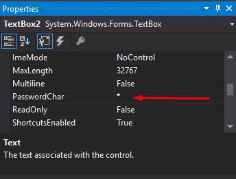 mengubah setting * agar, ketika di ketik textbox password akan muncul *