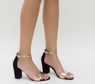 sandale cu toc gros aurii elegante