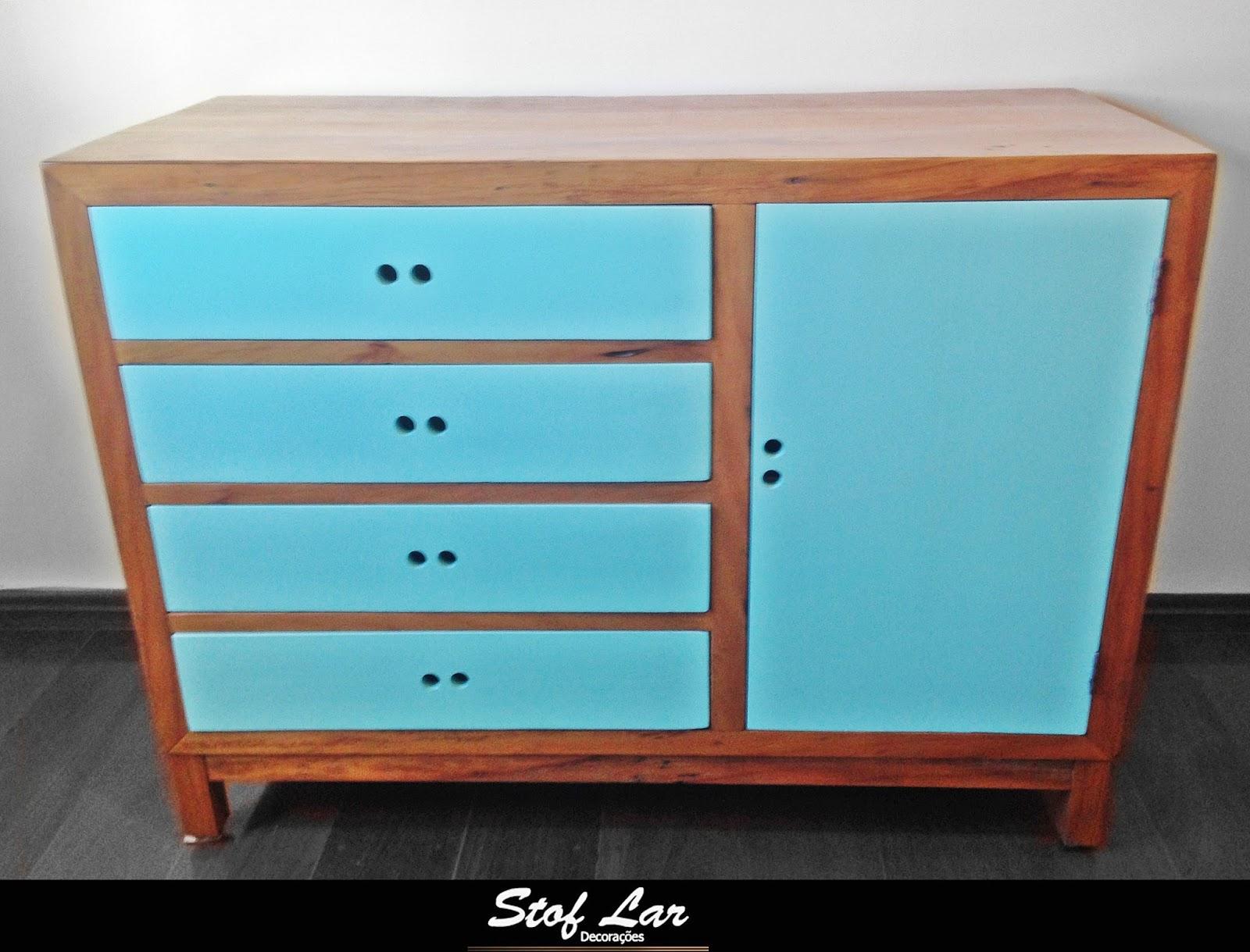 Stof lar decora es m veis em madeira de demoli o comoda reta com porta e gavetas pintadas - Comodas pintadas ...