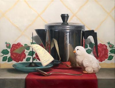 vintage diner scene, representational painting, American Women Artists