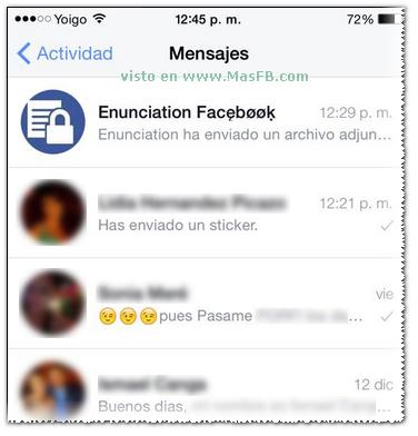 Lista de mensajes Facebook - MasFB