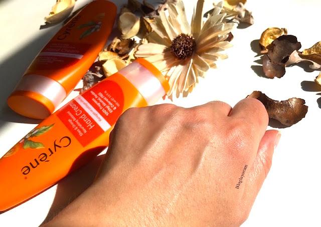 Cyrene Shea & Orange Nourishing Botanical Hand Cream el kremi swatch 3