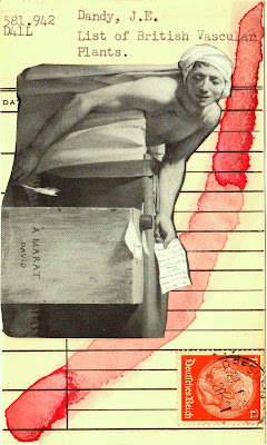 The Death of Marat Jacques-Louis David German postage stamp library card Dada Fluxus mail art collage