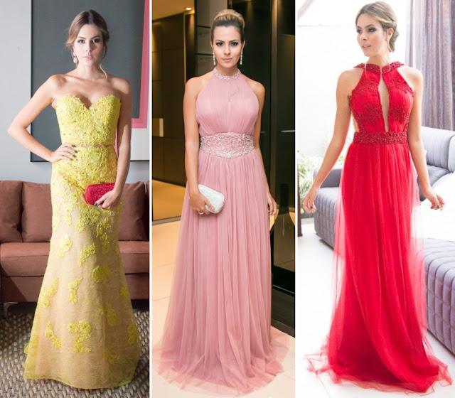 2066d4866d0 O vestido rosa é discreto e chique e o vestido vermelho bordado é muito  lindo. Perfeito para formandas! O vestido azul é super clássico para  madrinhas.