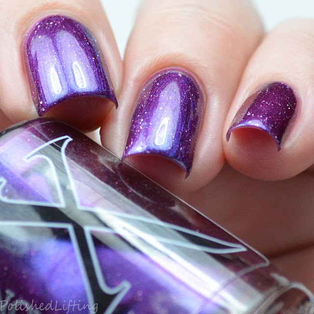berry nail polish with blue shimmer