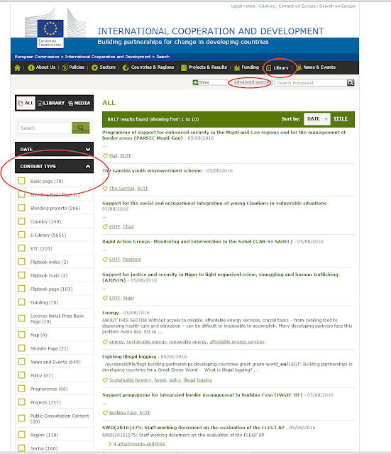 The EuropeAid document search function