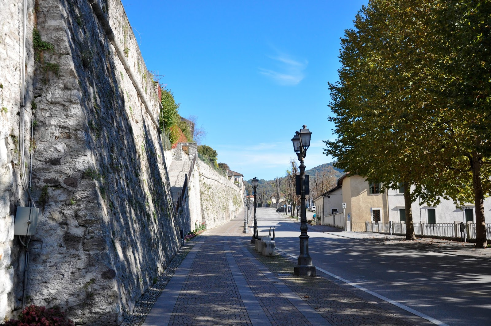 The street along the ramparts, Feltre, Veneto, Italy