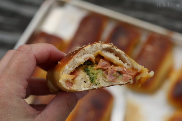 Ham, Cheese & Broccoli Pretzel Pockets