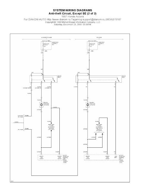 1997 honda accord wiring harness diagram 1997 honda accord anti-theft circuit system wiring ...