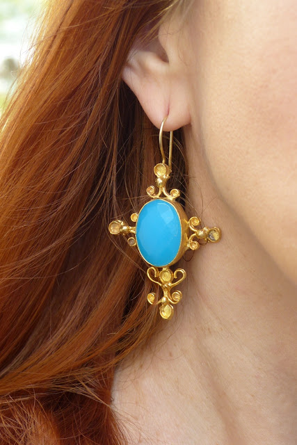 Ottoman Hands blue stone earrings