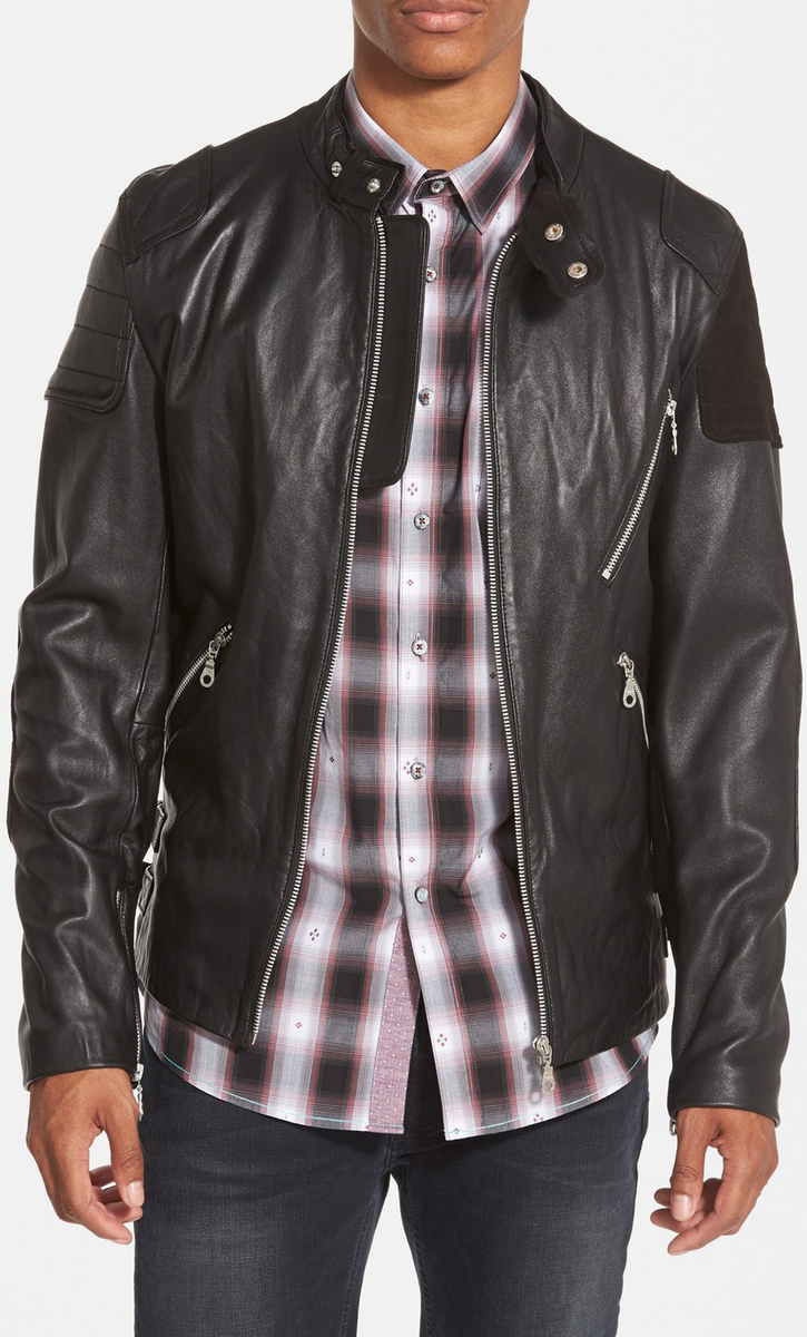 7 Diamonds 'Brando' Black Leather Moto Jacket with Suede Trim (Online Only)