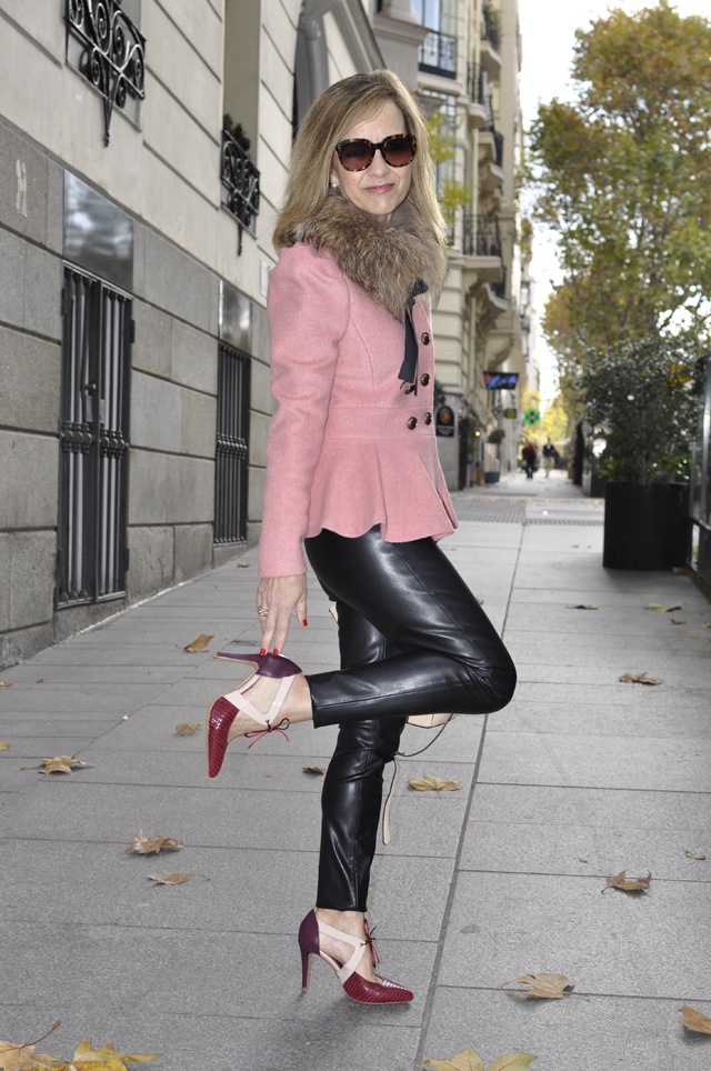 leather pants peplum jacket