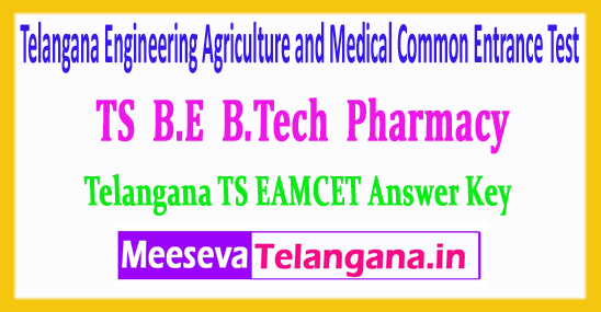 TS EAMCET Telangana Engineering Agriculture and Medical Common Entrance Test Answer Key 2019 Download