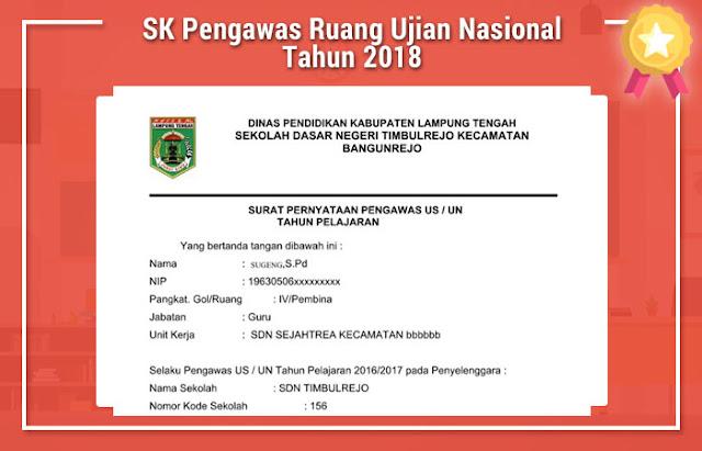 SK Pengawas Ruang Ujian Nasional Tahun 2018