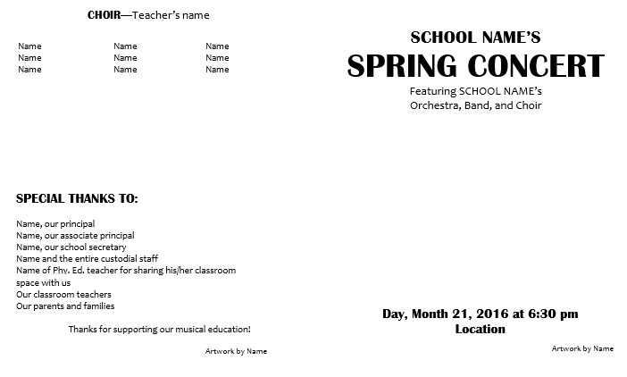 Teaching Elementary Orchestra  Template for a Concert Program and