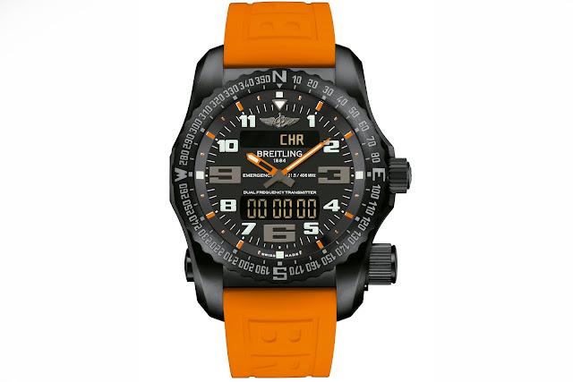 BREITLING NIGHT MISSION frontal naranja detalla blog debajo del reloj