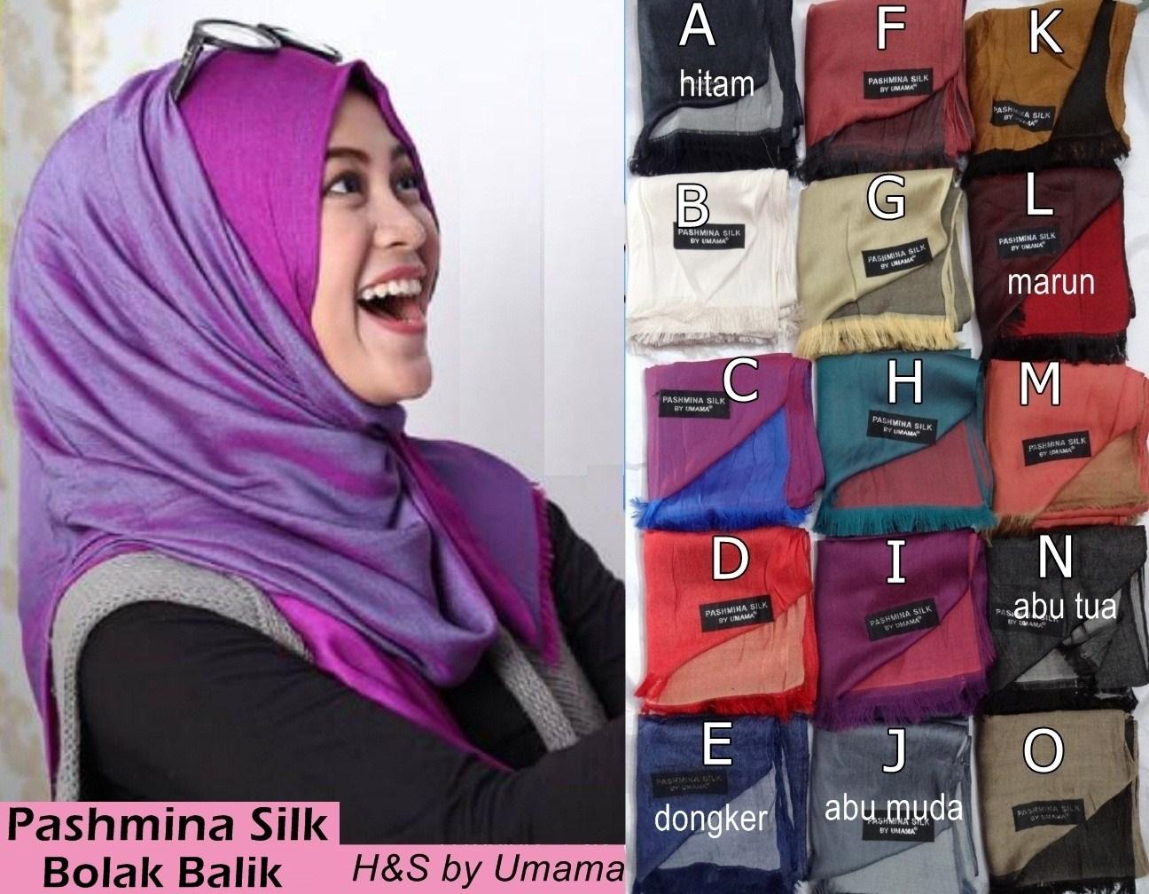 Grosir Model Jilbab Terbaru Hijab Kerudung Rawis Pashmina Silk Bolak Balik