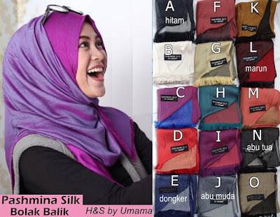 Model Jilbab Terbaru Pashmina Silk bolak Balik