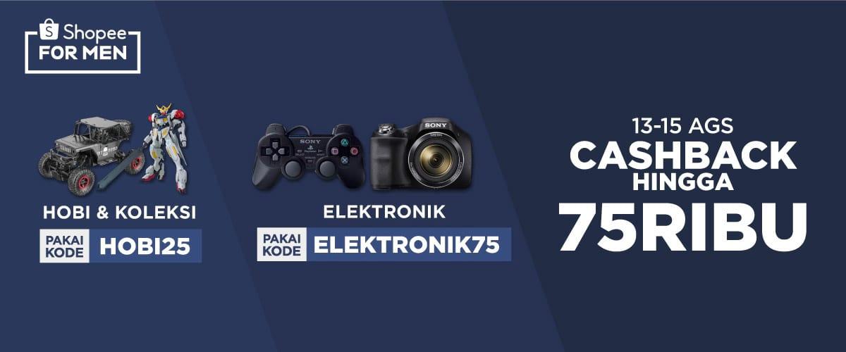 Shopee - Promo Cashback s.d 75 Ribu Produk Hobi & Elektronik (s.d 15 Agustus 2018)