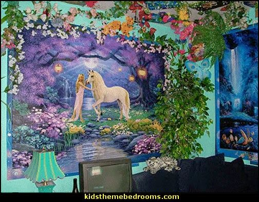 Decorating theme bedrooms maries manor fairy bedroom for Fairy garden wall mural