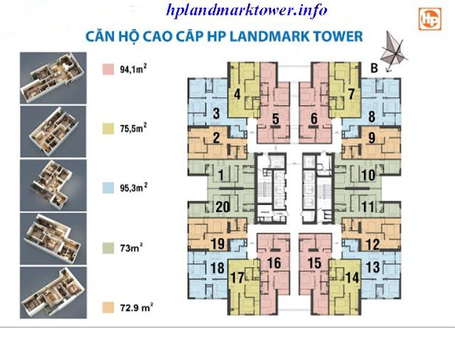 Mặt bằng điển hình dự án HP Landmark Tower