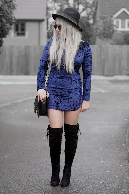 Sammi Jackson - Primark Black Fedora / Zaful Sunglasses / Fashion 71 Blue Velvet Dress / Oasap Quilted Flap Bag / Boohoo Thigh High Boots