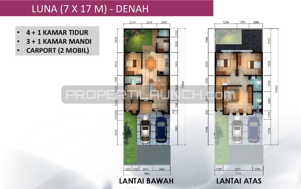 Denah Rumah Leora Alam Sutera Tipe 7x17