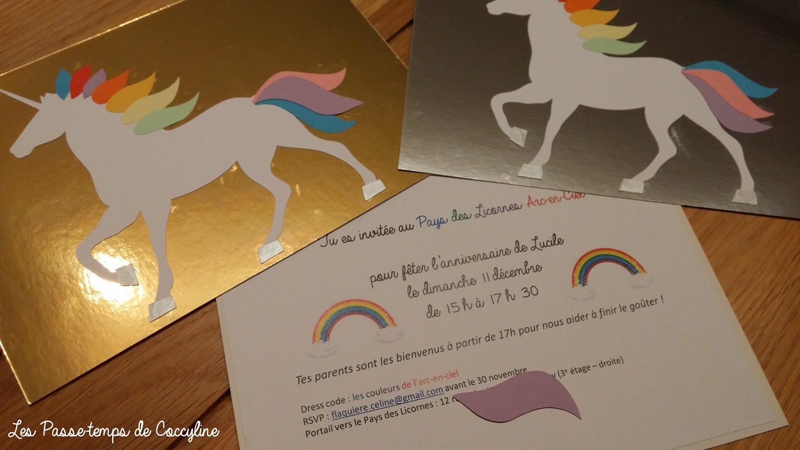 Les Passe Temps De Coccyline Anniversaire Licorne Et Arc En Ciel