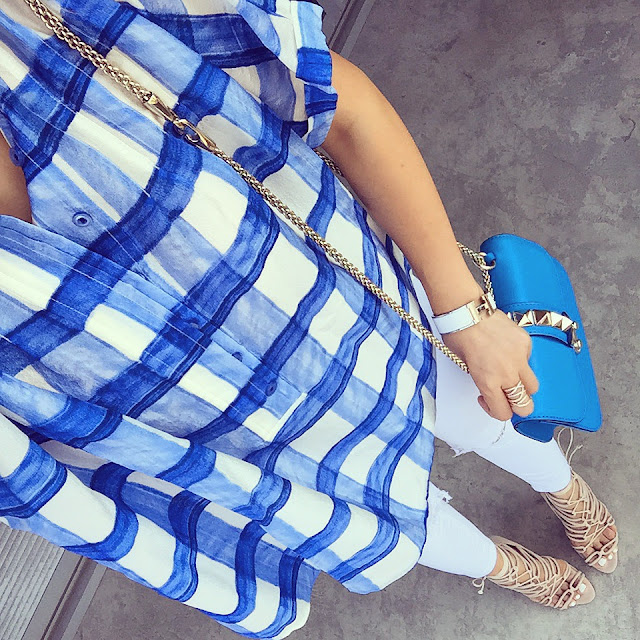Anthropologie blue checkered top, valentino lock bag, hermes bracelet, asos jeans, schutz lace up sandals, fashion blog