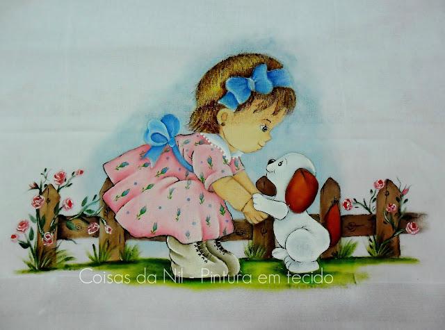 pintura em tecido fralda com menina e cachorrinho desenhos de ruth morehead