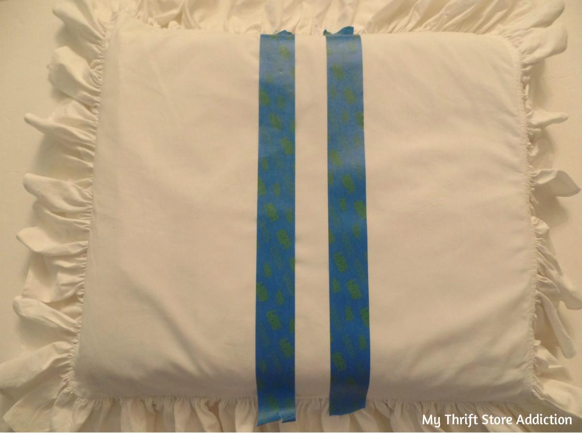 DIY short girl footstool with grain sack stripe cushion