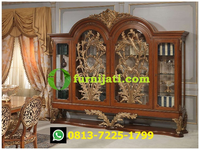 Gambar lemari pajangan kayu jati