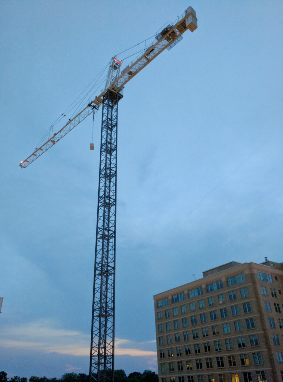 Tower Crane Self Assembly : Robert dyer bethesda row crane up at cheval