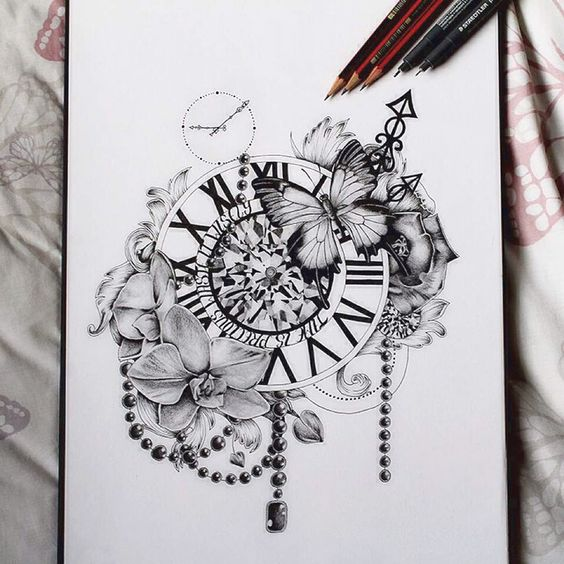 Gorgeous Clock Tattoo Designs