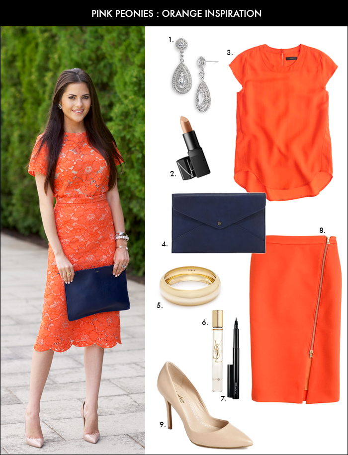 Pink Peonies, how to wear orange, orange pencil skirt, rach parcell