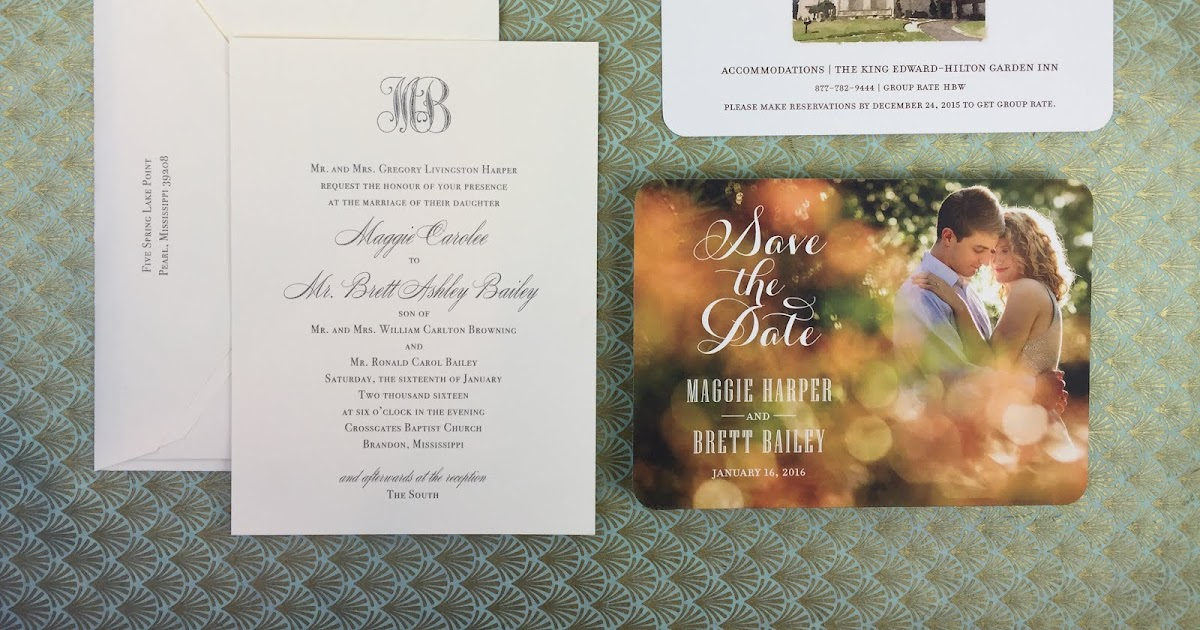Wedding Invitations Jackson Ms: Maggie Harper And Brett Bailey Wedding Invitations