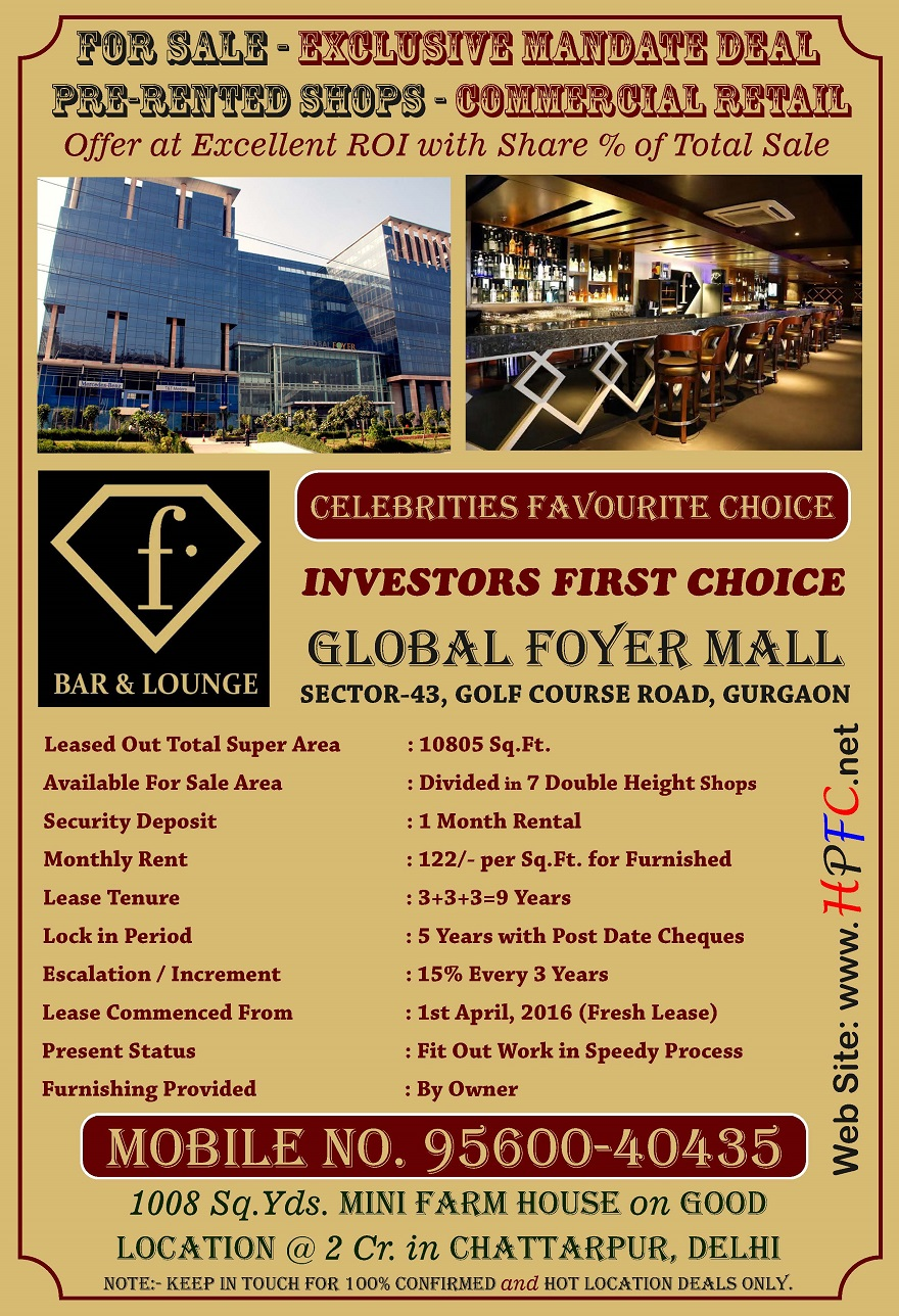 Pre-Leased Commercial Retail Shops in Global Foyer, Golf Course Road, Gurugram