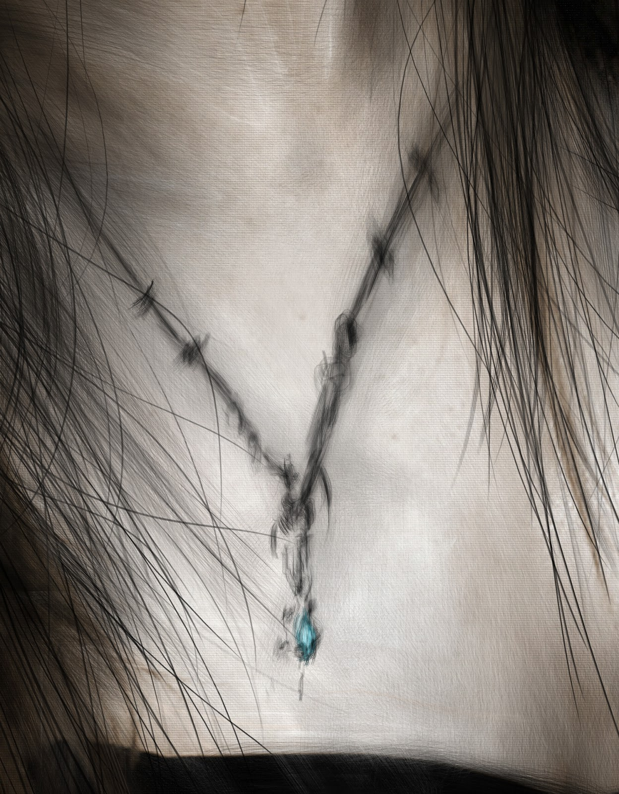 Digital painting detail of a necklace