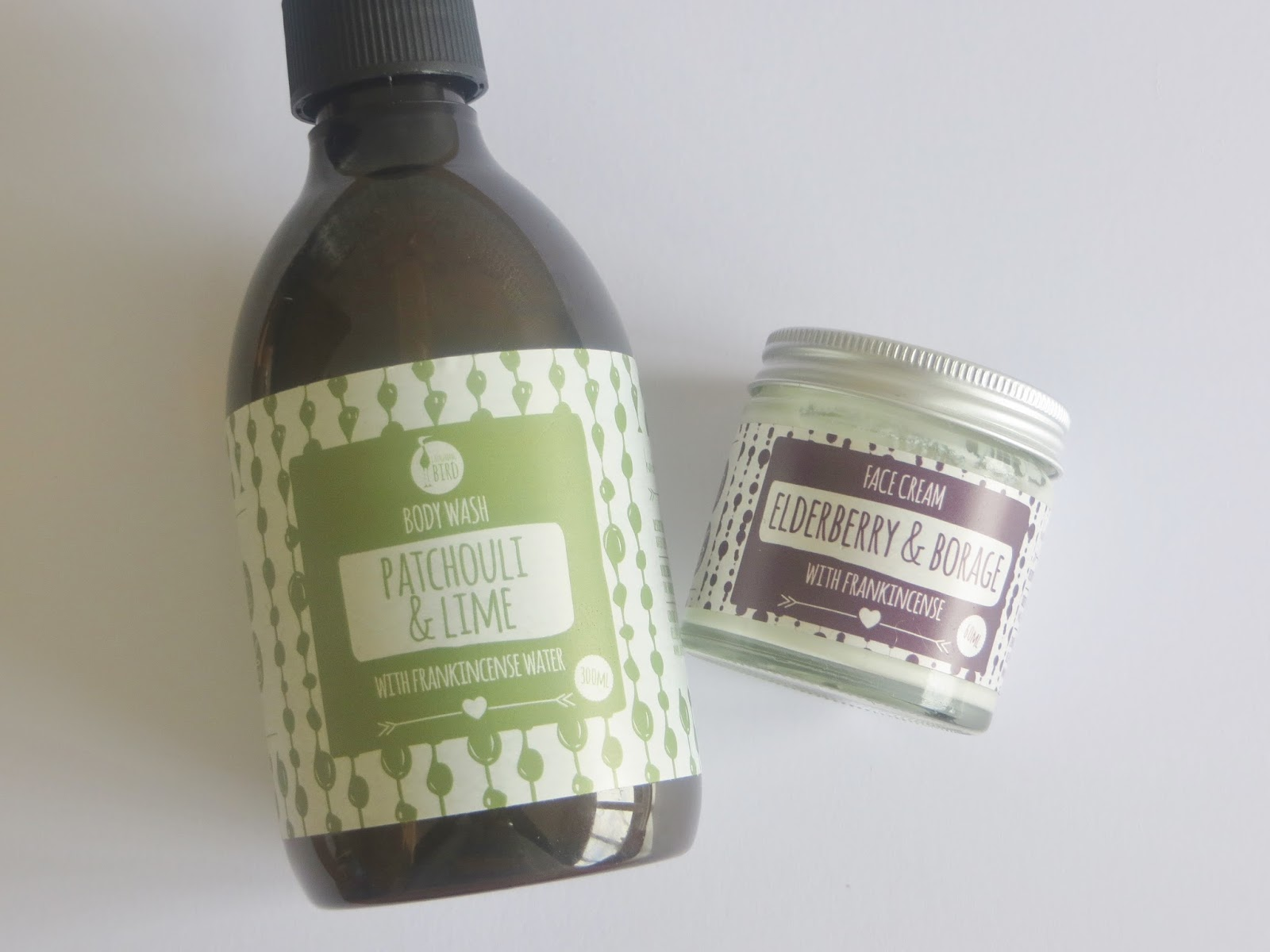 All natural body wash and face cream from Laughing Bird