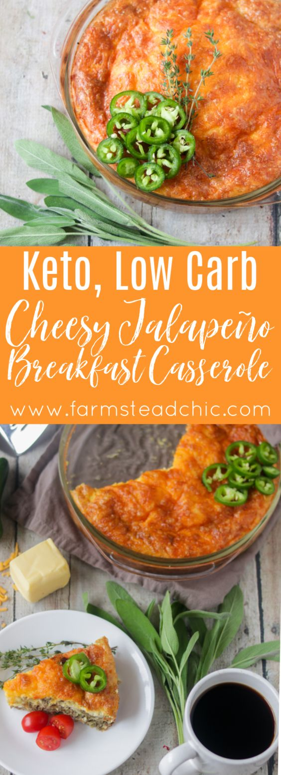KETO CHEESY SAUSAGE AND JALAPENO BREAKFAST CASSEROLE