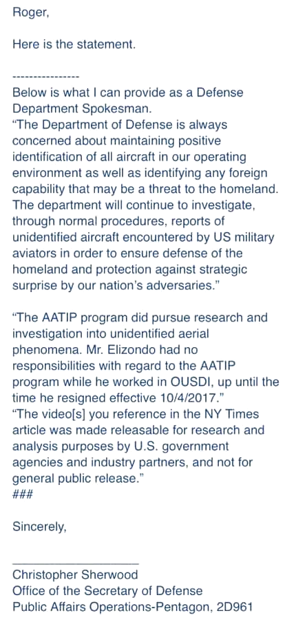 Pentagon Spokeman Sherwood To Roger Glassel Correspondence - June 2019