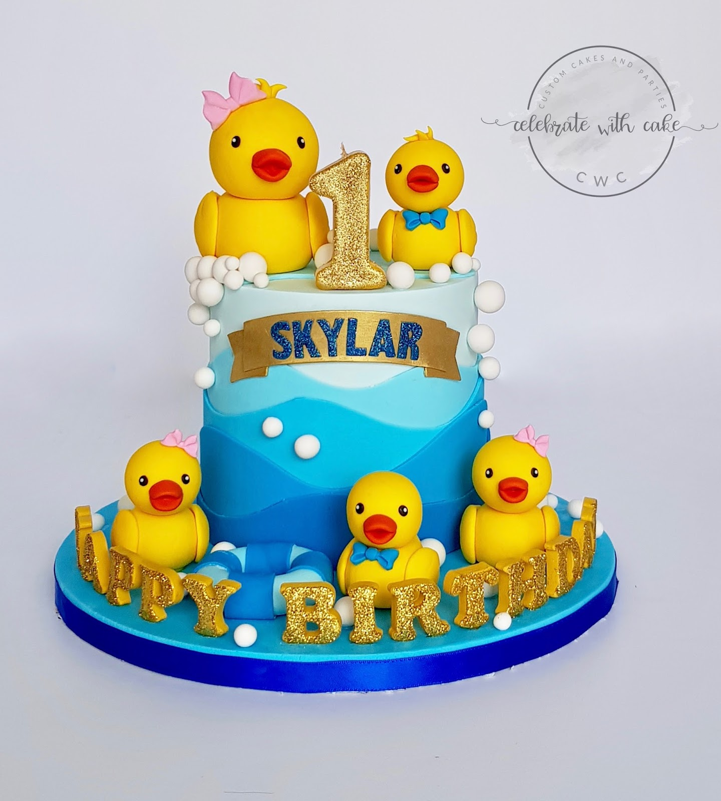 Groovy Celebrate With Cake Rubber Ducky 1St Birthday Cake Funny Birthday Cards Online Alyptdamsfinfo