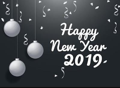 Gambar Ucapan Selamat Tahun Baru 2019 Abu-Abu Happy New Year