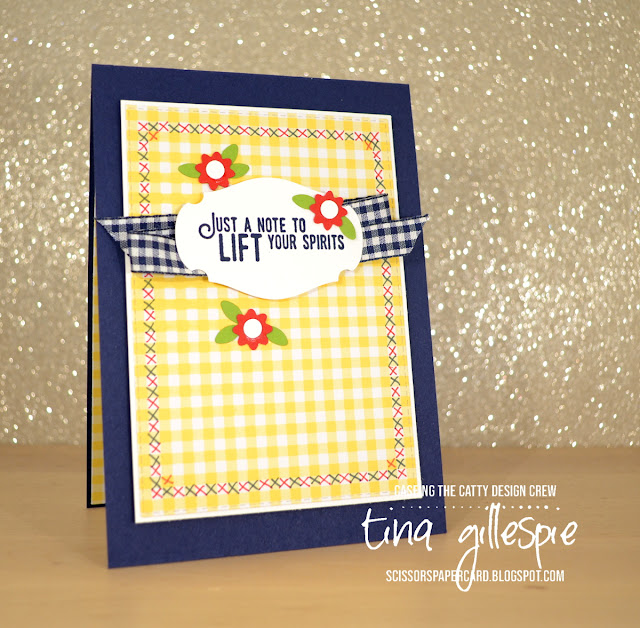 scissorspapercard, Stampin' Up!, CASEing The Catty, Lift me Up, Well Said, Gingham Gala, Rectangle Stitched Framelits, Story Label Punch, Bitty Blooms Punches