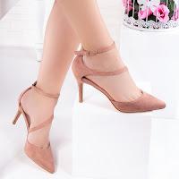 Pantofi dama cu toc roz Bisinia