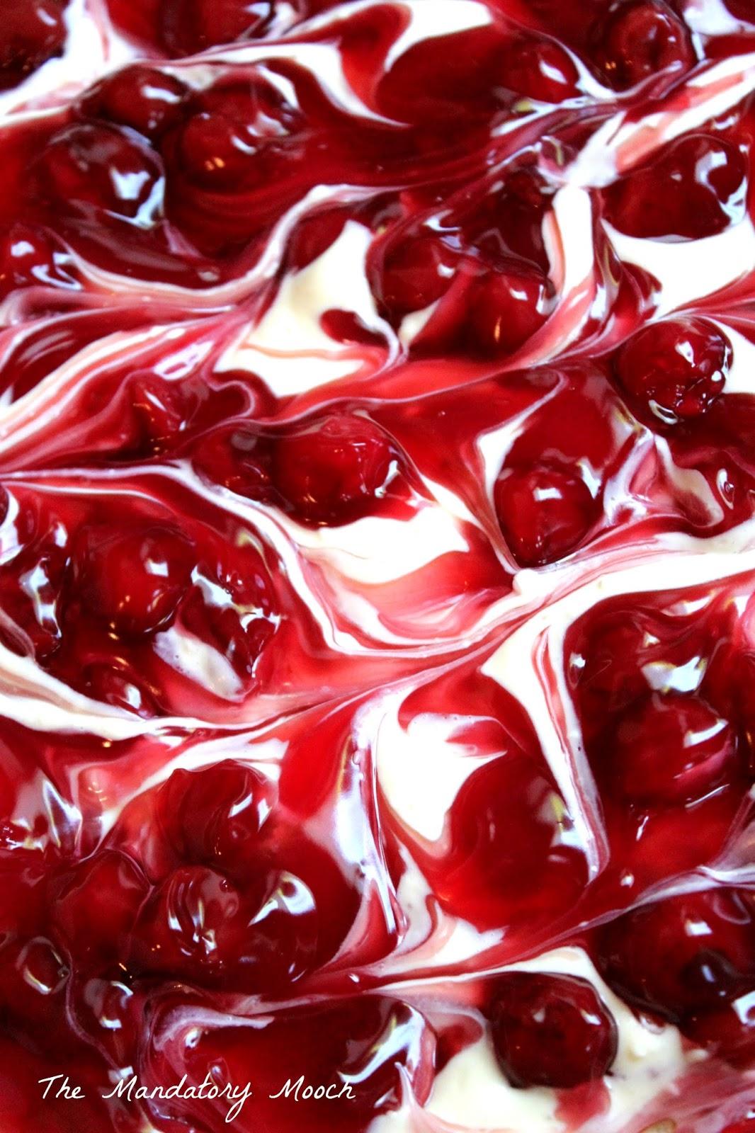 The Mandatory Mooch Cherry Cheesecake Surprise Layered