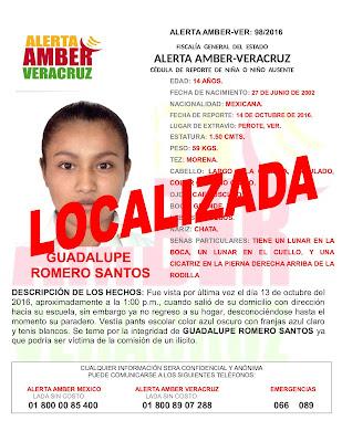 Desactivan Alerta Amber para Guadalupe Romero Santos en Perote Veracruz