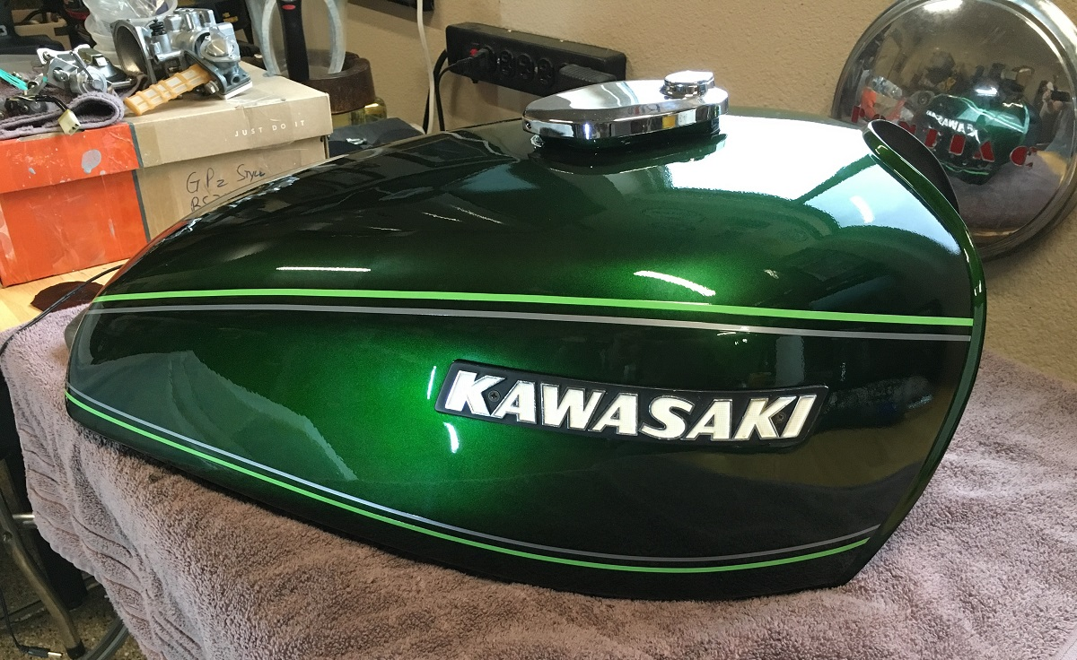 Alan J Of Johnstown Co Proudly With Good Reason Displays His Kawasaki Cafe Racer In A Gorgeous Green House Kolor Custom Color Wow